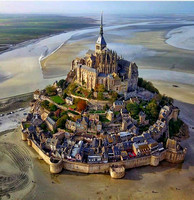 Mont St Michel, north coast of France, from the air